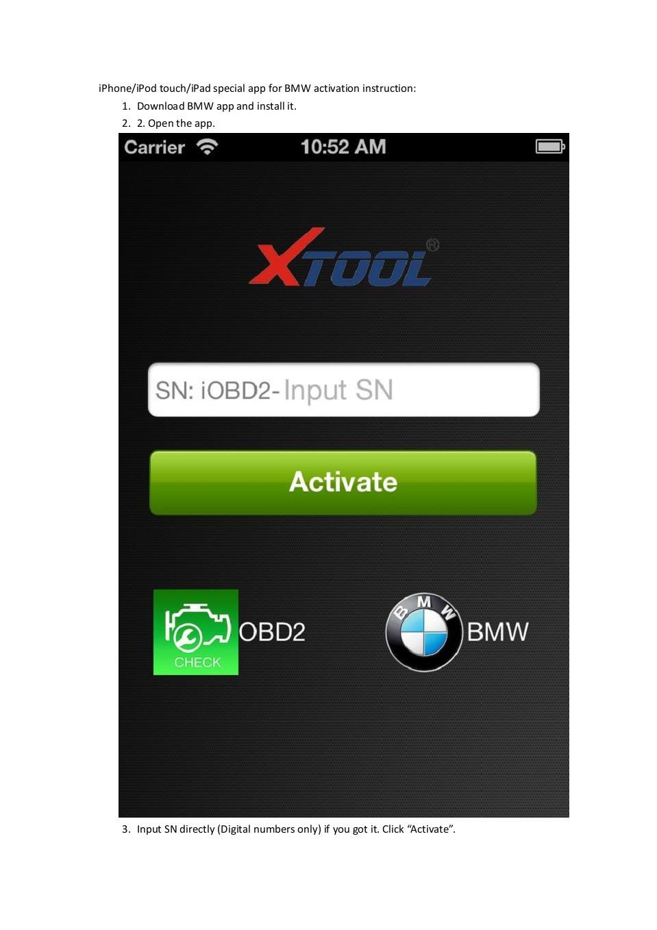 IOBD2 BMW ACTIVATION Step 1