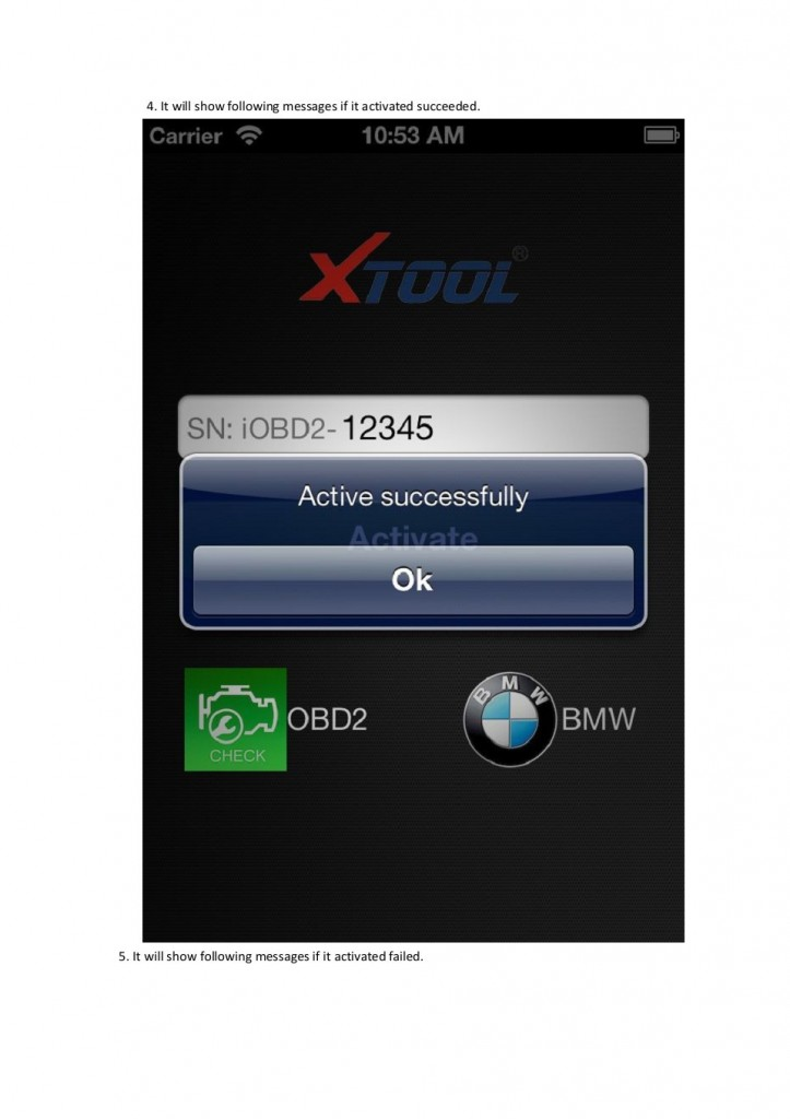 IOBD2 BMW ACTIVATION Step 2